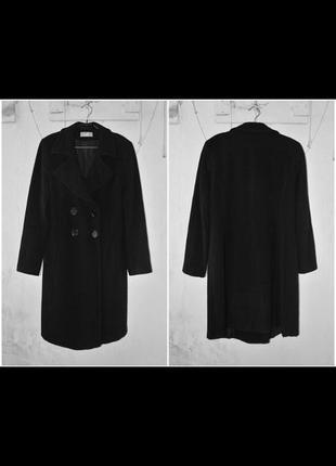 Черное классическое шерстяное пальто wallis