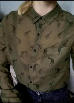 Рубашка блуза блузка зеленая кофта хаки принт рисунок