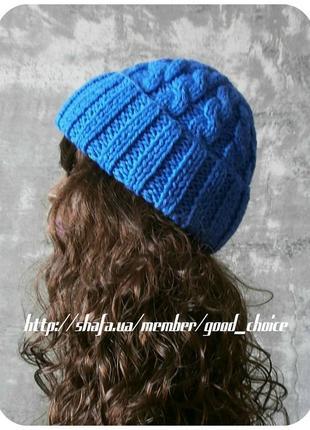 ❆ любая расцветка! хлопковая шапка с отворотом/с косами василькового цвета