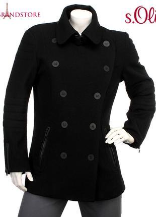 Шерстяное классическое пальто s.oliver женский бушлат пиджак полупальто теплое осень зима