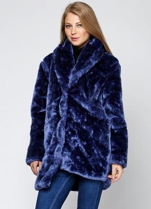 Ярко синяя тёплая шуба missguided