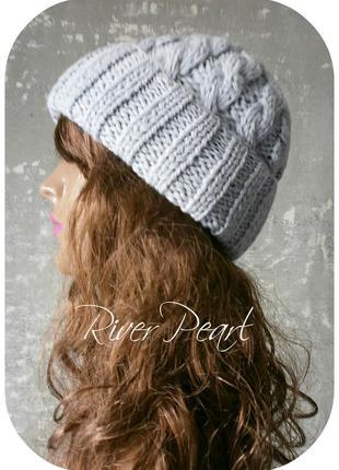 ❆ любая расцветка! хлопковая шапка с отворотом/с косами цвета речной перламутр