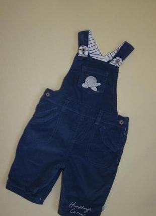 Синий комбинезон комбез штаны вельветы mothercare 3-6 мес х/б подкладка