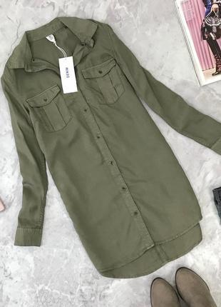 Удлиненная блуза защитного цвета с накладными карманами h&m  bl1845055