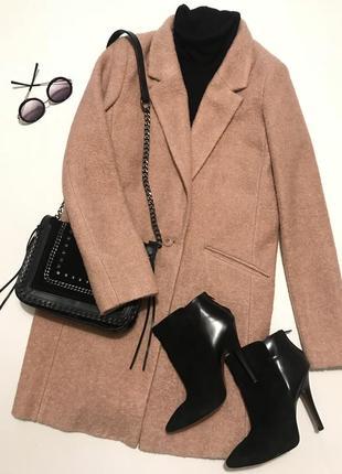 Тренд! пальто из буклированной шерсти цвета пыльная роза