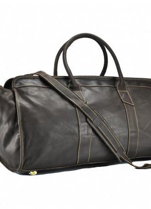 Кожаная большая стильная дорожная спортивная сумка темно-коричневая ручная работа