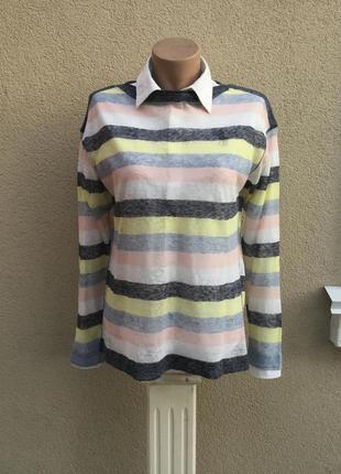Тонкая,прозрачная,льняная,трикотаж кофточка,джемпер,свитер в разноцветную полоску