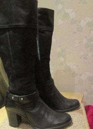 Сапоги высокие zalando shoes р.37.натур.кожа-нубук.оригинал(легкое б/у)