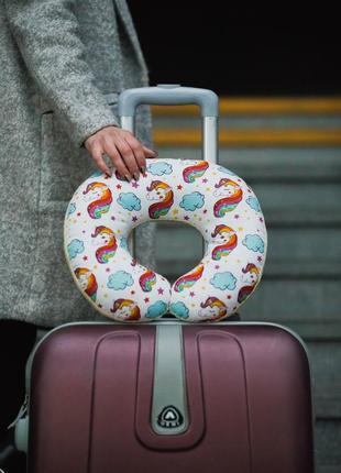 Двухсторонняя подушка для путешествий, в дорогу из плюша и хлопка -  единороги