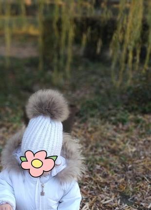 Шапка зимняя с натуральным пумпоном и  варежки