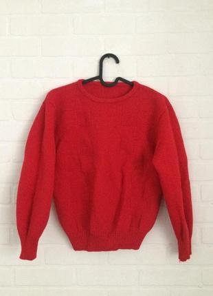 Красный шерстяной свитер 100% шерсть