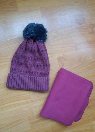 Набор цвета марсал : шапка + флисовий шарфик
