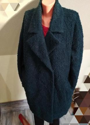 Стильное трендовое изумрудное зеленое пальто кокон оверсайз бойфренд