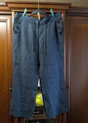 Льняные синие брюки штаны батал большого размера monsoon