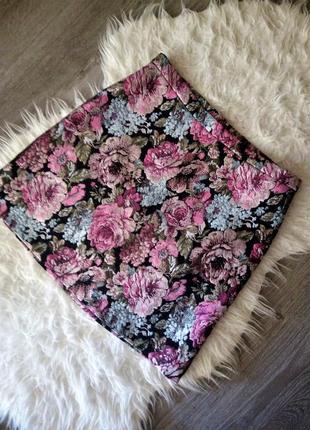 Шикарная жаккардовая юбка из парчи гобелена цветочный принт от h&m m-s