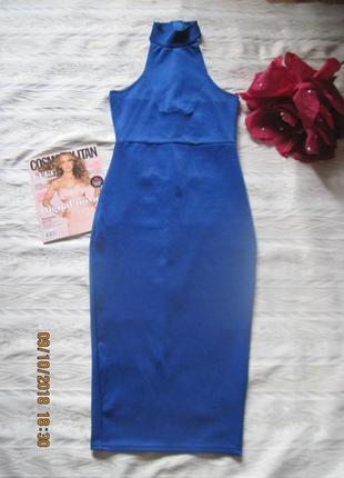 Новогодний наряд!стильное платье с воротом под горло  цвета индиго всего за 199 грн!!!