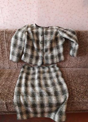 Классический теплый костюм в стиле коко шанель 46-48 размер