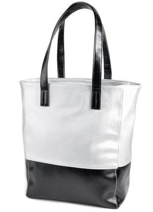 Серебристая вертикальная сумка шоппер на плечо с черными вставками