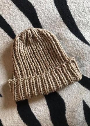 Шапка теплая, шапка шерстяная, шапка женская, шапка обьемная