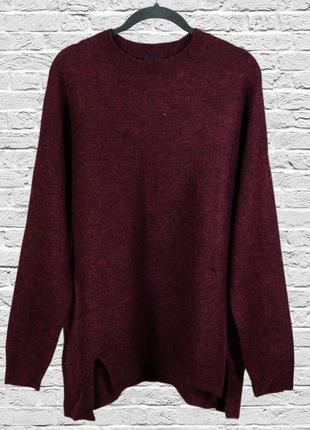Мягкий свитер бургунди, джемпер удлиненный из альпаки