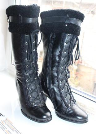 Зимние сапоги на каблуке шнуровка кожа мех