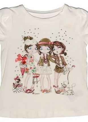 Новая молочная футболка с аппликацией для девочки, mayoral, 3086