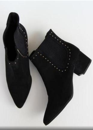Ботинки ботильены толстый каблук