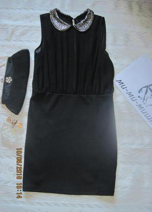 Новогодний наряд!крутое черное платье с бисерным воротником всего за 199 грн.