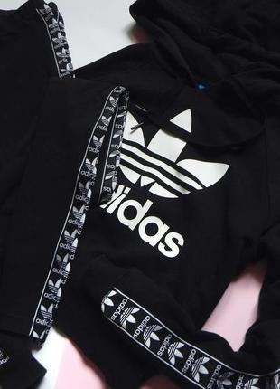 Укорочённое худи adidas, лосины, спортивный костюм с лампасами