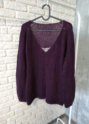 Шикарный свитер с кружевом. мериносовая шерсть