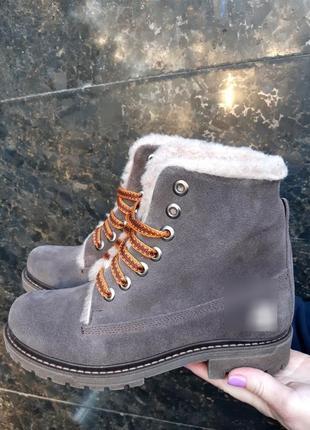 Ботинки женские натуральная замша зима
