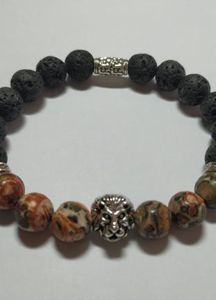Мужской браслет из леопардовой яшмы и лавы