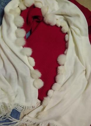 Большой шарф-палантин с натуральным мехом