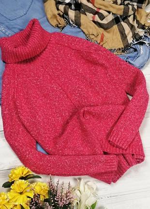 Очень теплый малиновый свитер с высоким воротником 150009 george размер m