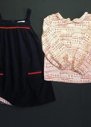Стильный костюм m&s 4-5 лет. сарафан микровельвет