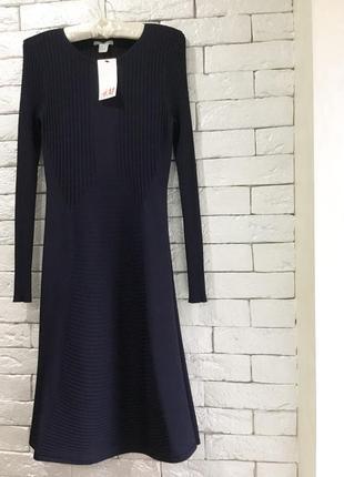 Стильное платье в рубчик h&m,p.m
