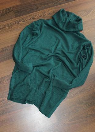 Шерстяной удлиненный изумрудный свитер
