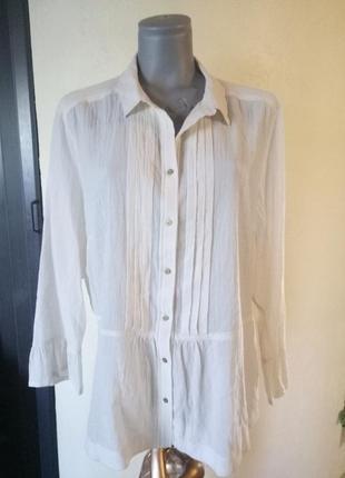 Хлопковая блуза кремового цвета 56-58 р