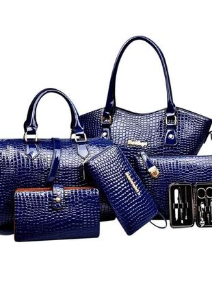 Невероятный лаковый комплект под кожу питона/набор сумок 6в1/в наличии в 4х цветах
