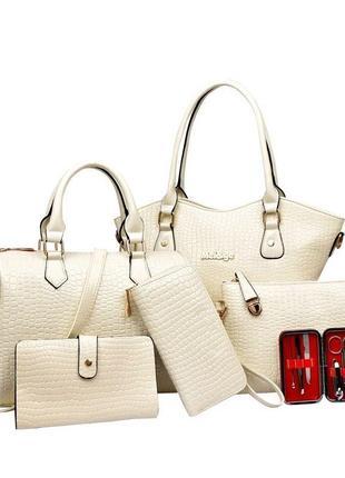 Невероятный лаковый комплект под кожу питона/набор сумок 6в1/в наличии в 3х цветах