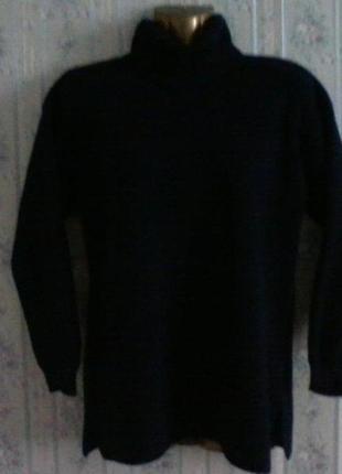 Шерстяной свитер оверсайз с горловине, синего цвета, разм. 46