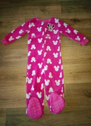 Махровая пижама слип минни маус на 4-5-6 лет