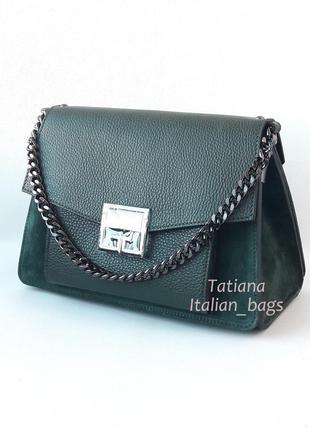 New. трендовая кожаная сумка с замшей, темно-зеленая. италия