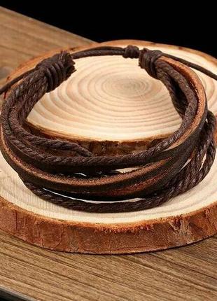 Кожаный браслет кожа коричневый мужской женский