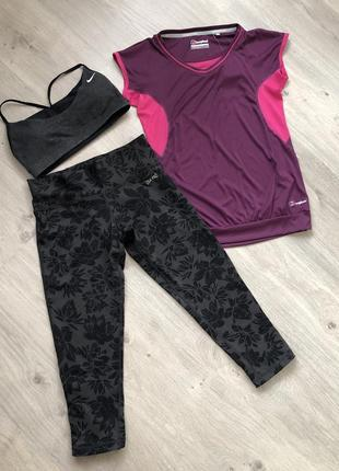 Костюм для фитнеса. 3-ка. бриджи + футболка + топ - лиф размер с-м