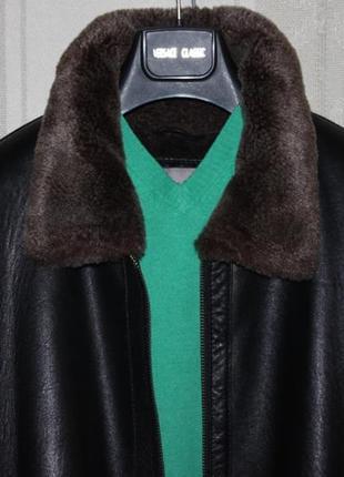 Крутая куртка дубленка кожаная мужская пилот-бомбер milestone (германия l 50/52)
