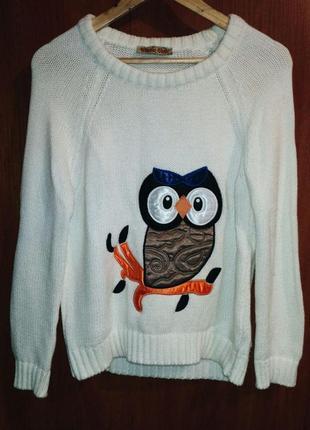 Теплый белый свитер с совой