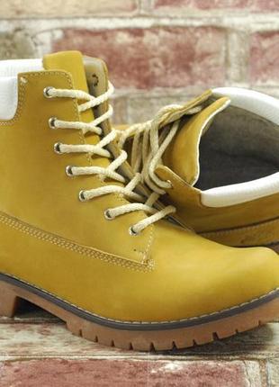 Акция! горчичные зимние женские высокие ботинки (берцы) кожаные утепленные мехом
