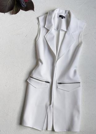 Стильная белоснежная жилетка безрукавка пиджак без рукавов от topshop