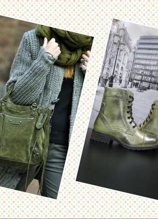 Зимние ботинки берцы в стиле милитари из натуральной кожи s&g зеленые, р. 36, 39